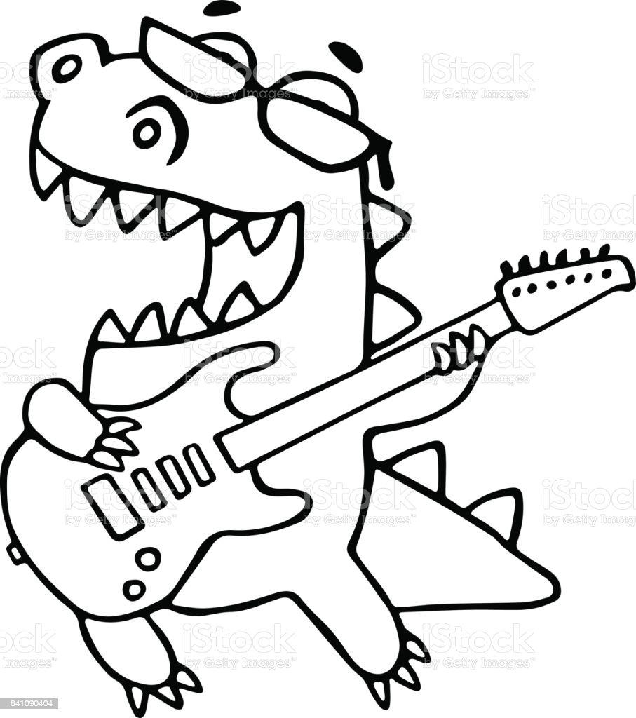 El Dragón Tocando La Guitarra Eléctrica En Copas Negras Ilustración ...