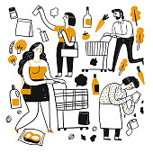 The drawing character of people in supermarket. The appearance and lifestyle. Collection of hand drawn. Vector illustration in sketch doodle style.