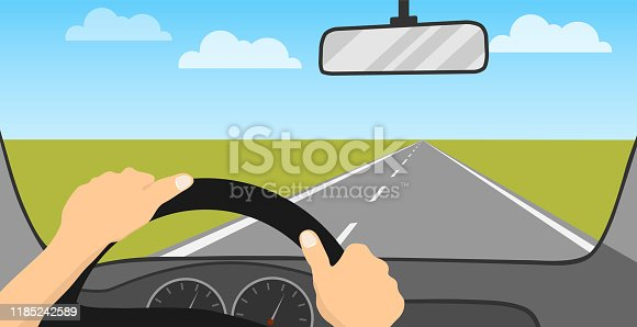 The driver is driving a car. The driver rides on the road. Vehicle interior. Cartoon illustration of a car driving concept. Vector.
