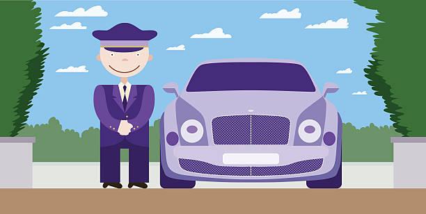 Der Fahrer, steht am Wasserfall einer limousine – Vektorgrafik