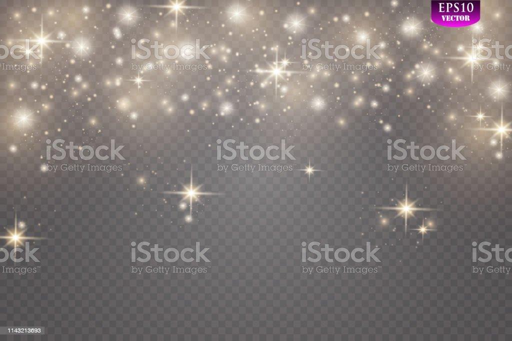 Der Staub ist gelb. gelb, Funken und Goldene Sterne leuchten