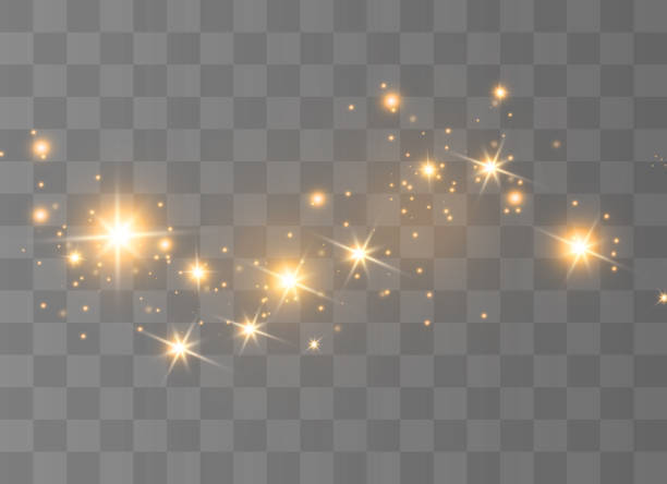 The dust sparks The yellow dust sparks and golden stars shine with special light. Vector sparkles on a transparent background. Christmas light effect. Sparkling magical dust particles. glowing stock illustrations