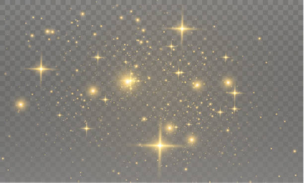 The dust sparks The yellow dust sparks and golden stars shine with special light. Vector sparkles on a transparent background.  Sparkling magical dust particles. glitter stock illustrations