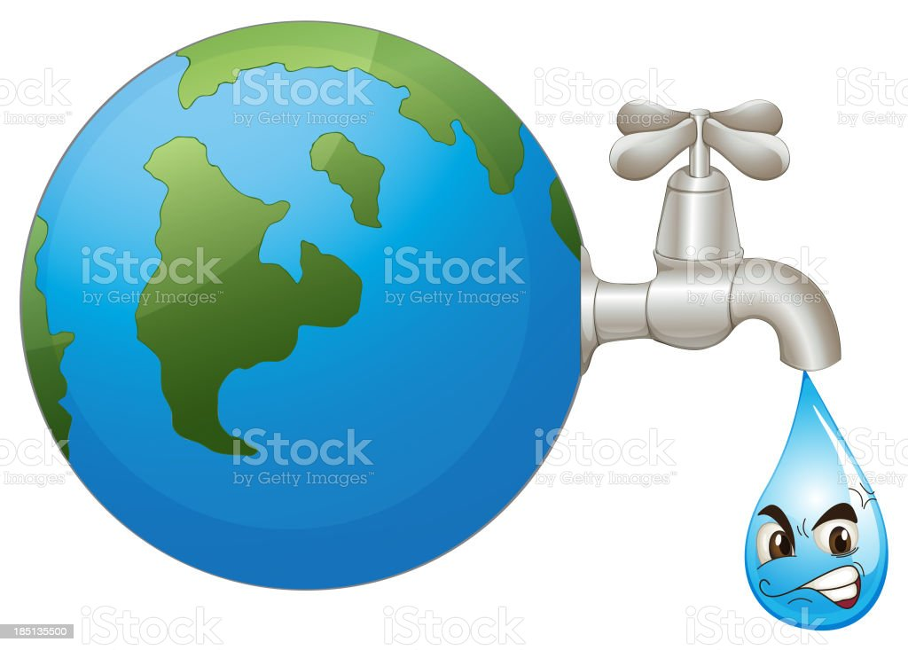 the earth and a water drop royalty-free stock vector art