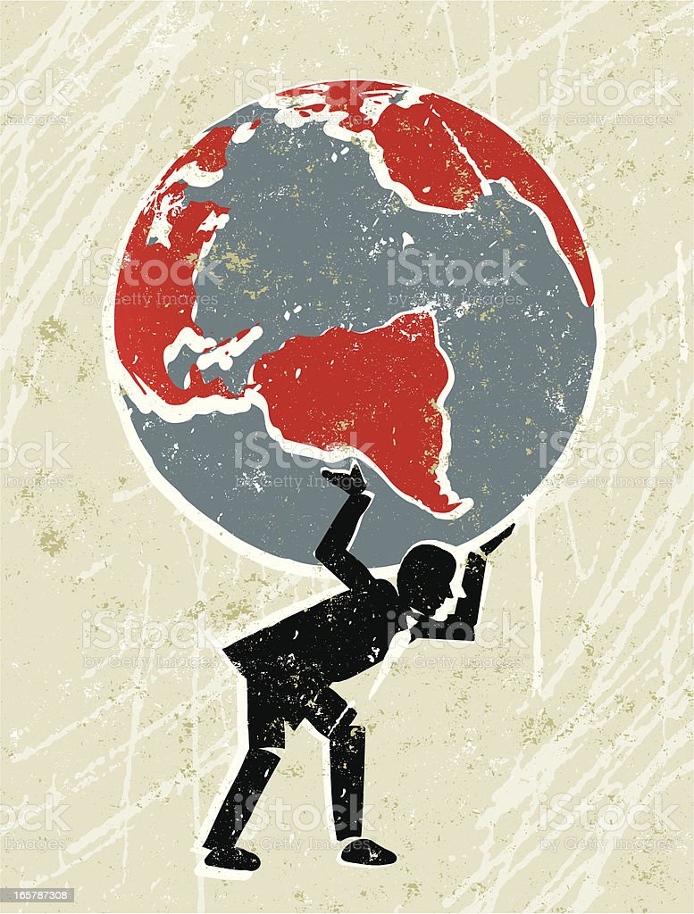 The Earth being carried by a business man. vector art illustration
