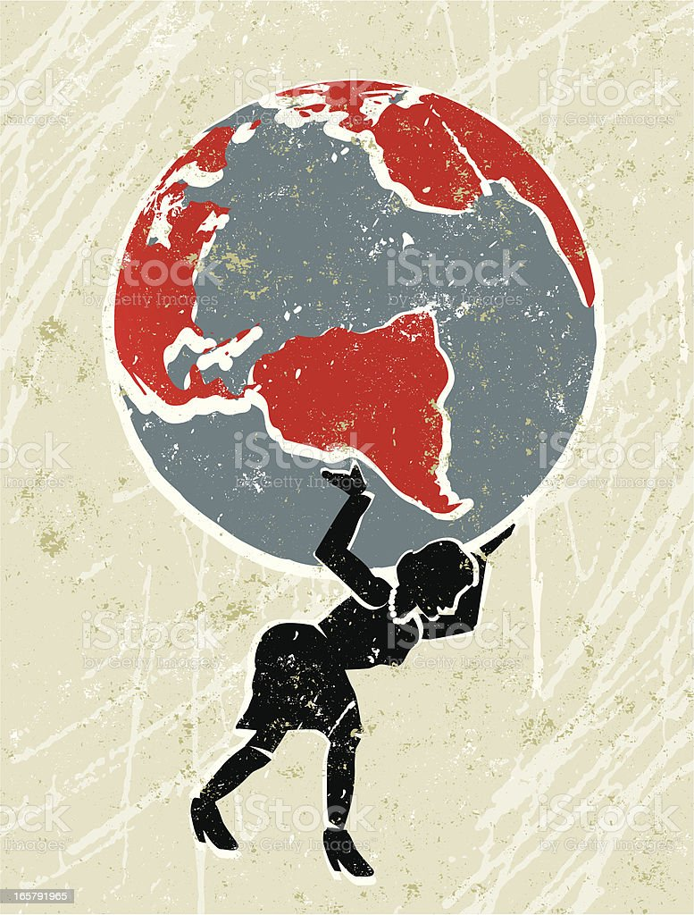 The Earth being carried by a businesswoman. vector art illustration