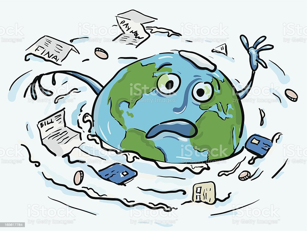 The Earth Drowning in a sea of debt royalty-free stock vector art