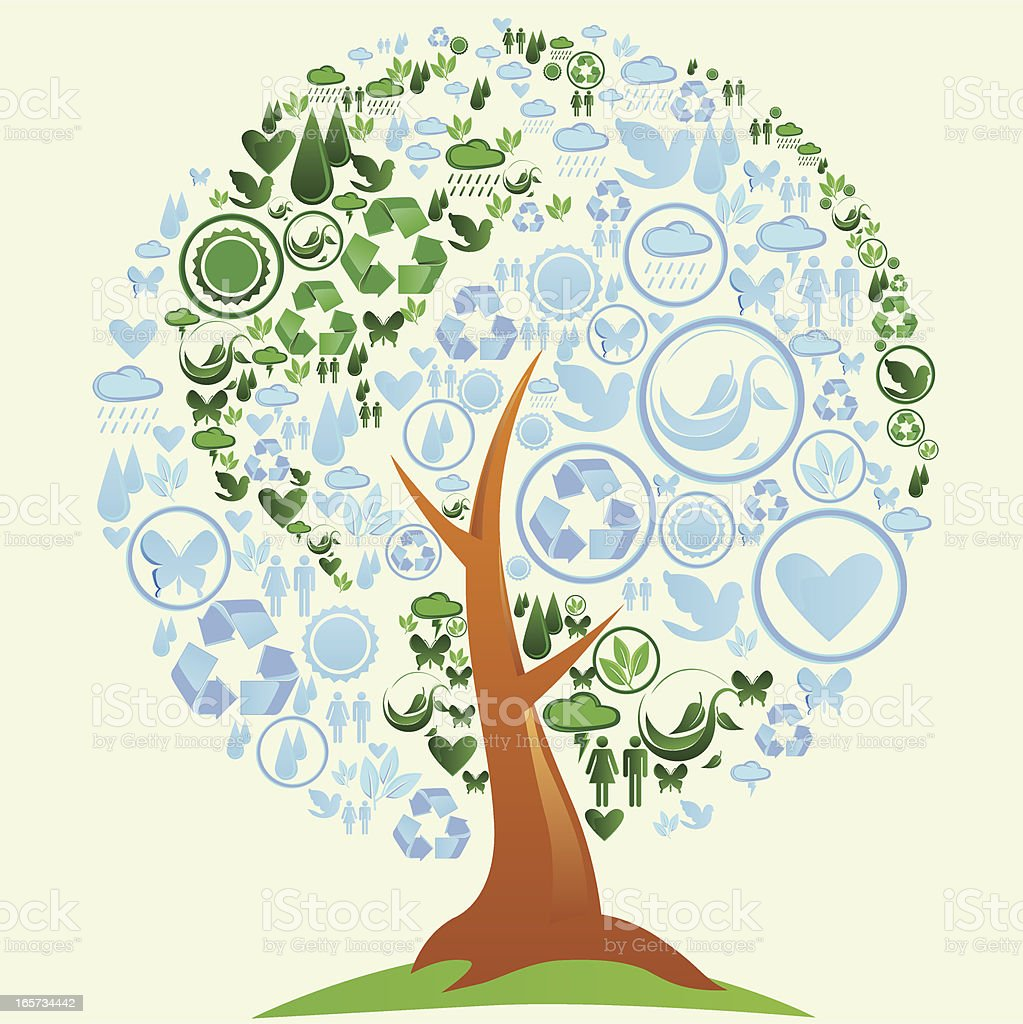 The Earth on Tree royalty-free the earth on tree stock vector art & more images of environmental conservation