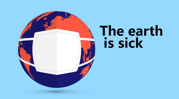 Die Erde mit Maske, ein Symbol der infizierten Umgebung, kann als Poster verwendet werden. – Vektorgrafik
