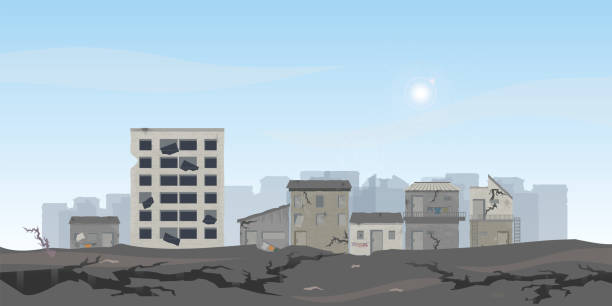 The earthquake destroyed houses and street. The earthquake destroyed houses and street, Natural disasters vector illustration. demolished stock illustrations