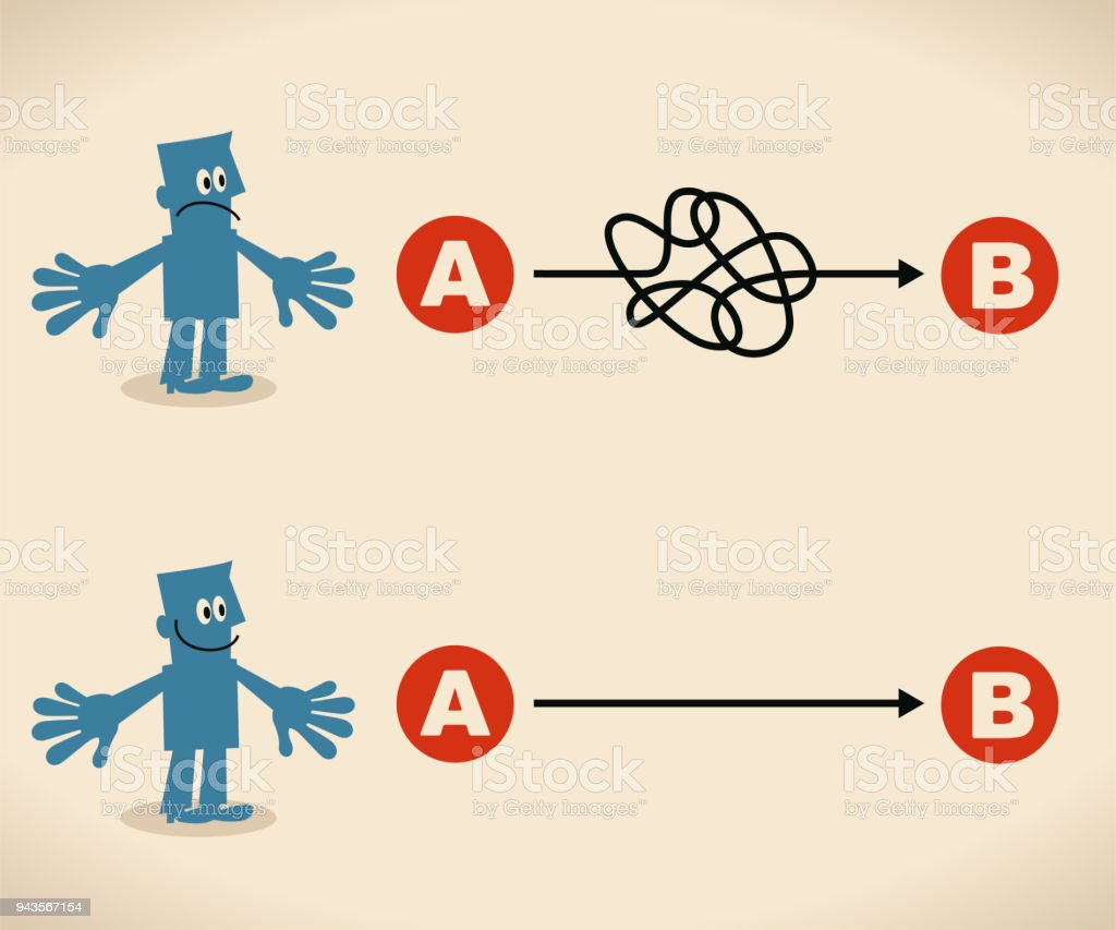 The easy way or the hard way. businessman want to choose the right path vector art illustration