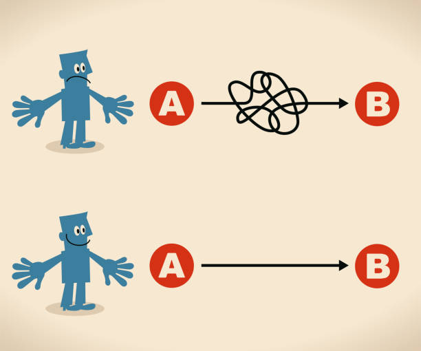 the easy way or the hard way. businessman want to choose the right path - complexity stock illustrations