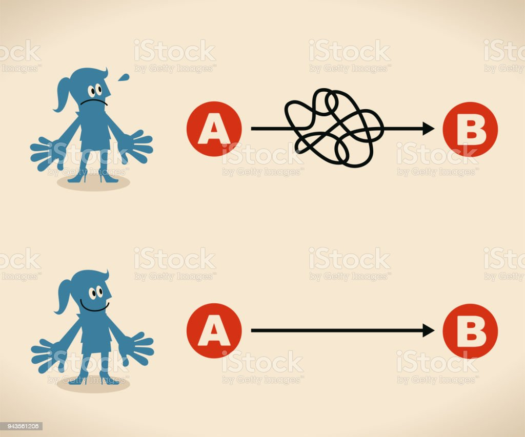 The easy way or the hard way. businesswoman want to choose the right path vector art illustration