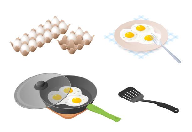 stockillustraties, clipart, cartoons en iconen met de eieren platte isometrische illustratie set. - chicken bird in box