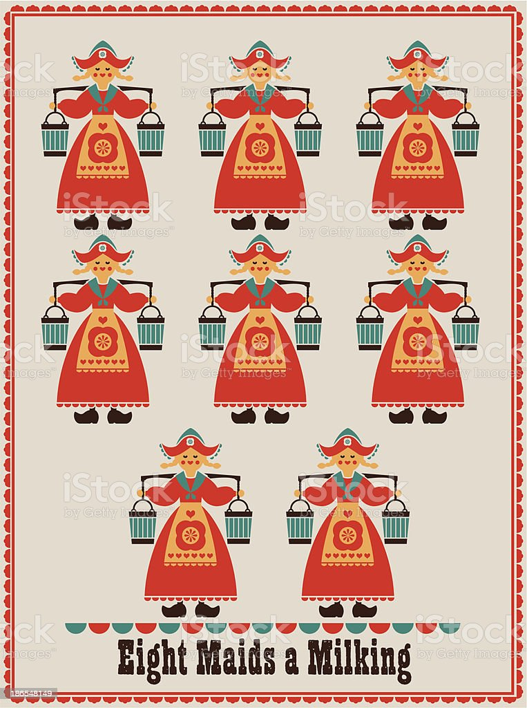 The Eight Day of Christmas vector art illustration