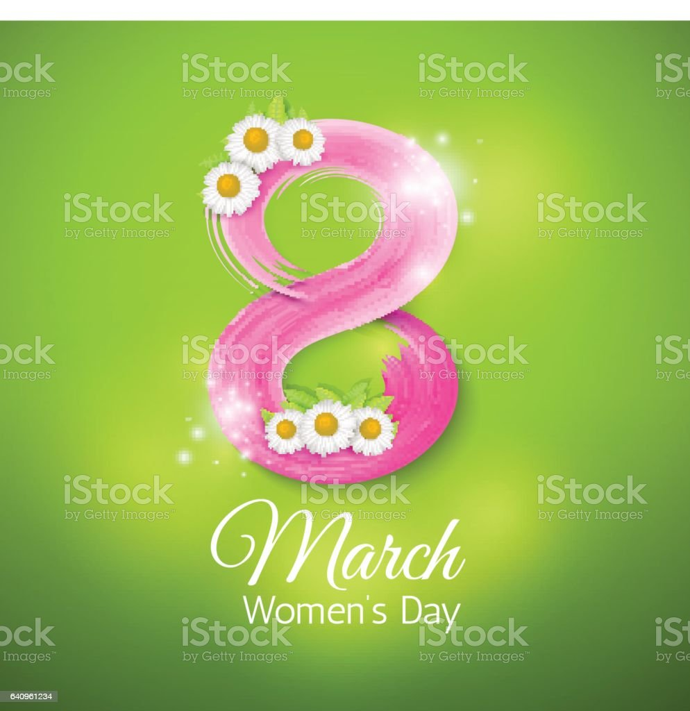 The eighth of March, International Women's Day. Greeting card vector art illustration