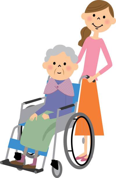 高齢者に座って、車椅子、看護ケア - 介護点のイラスト素材/クリップアート素材/マンガ素材/アイコン素材