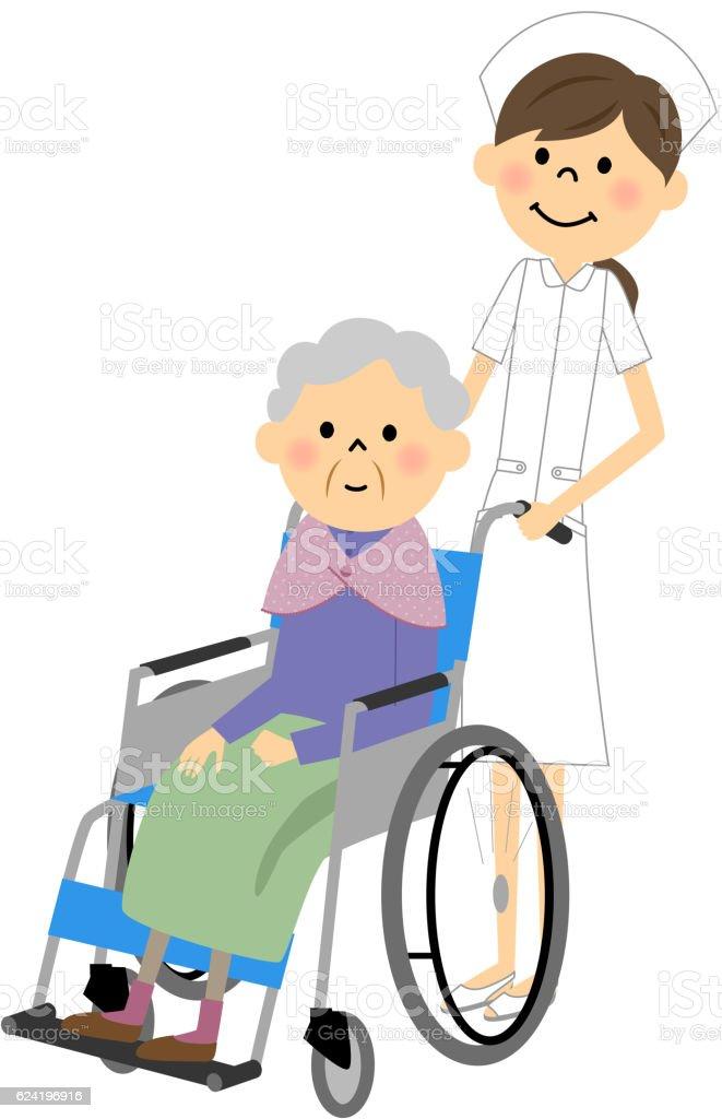Idosos Sentados Em Cadeiras De Rodas Cuidados De Enfermagem Arte