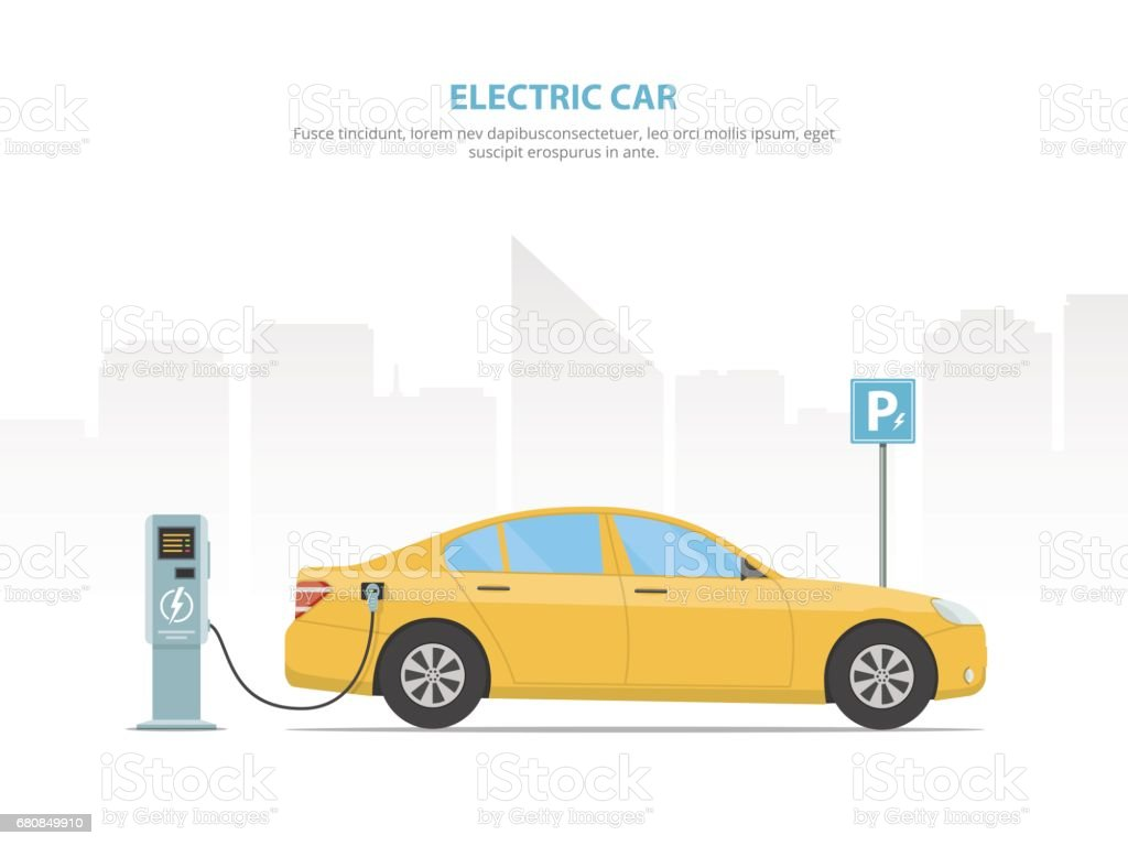 The electric car is charging from the charging station in the parking lot. vector art illustration