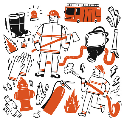 The element hand drawn of Fire fighting