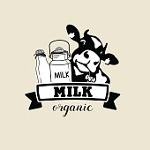 The emblem of the cow and the milk. Vector black-and-white sign for milk producers and dairy products.