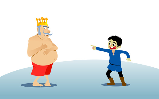 The Emperor's New Clothes Tale. White Background Isolated. Vector Illustration for Children Books, Covers, Blogs, Web Pages.