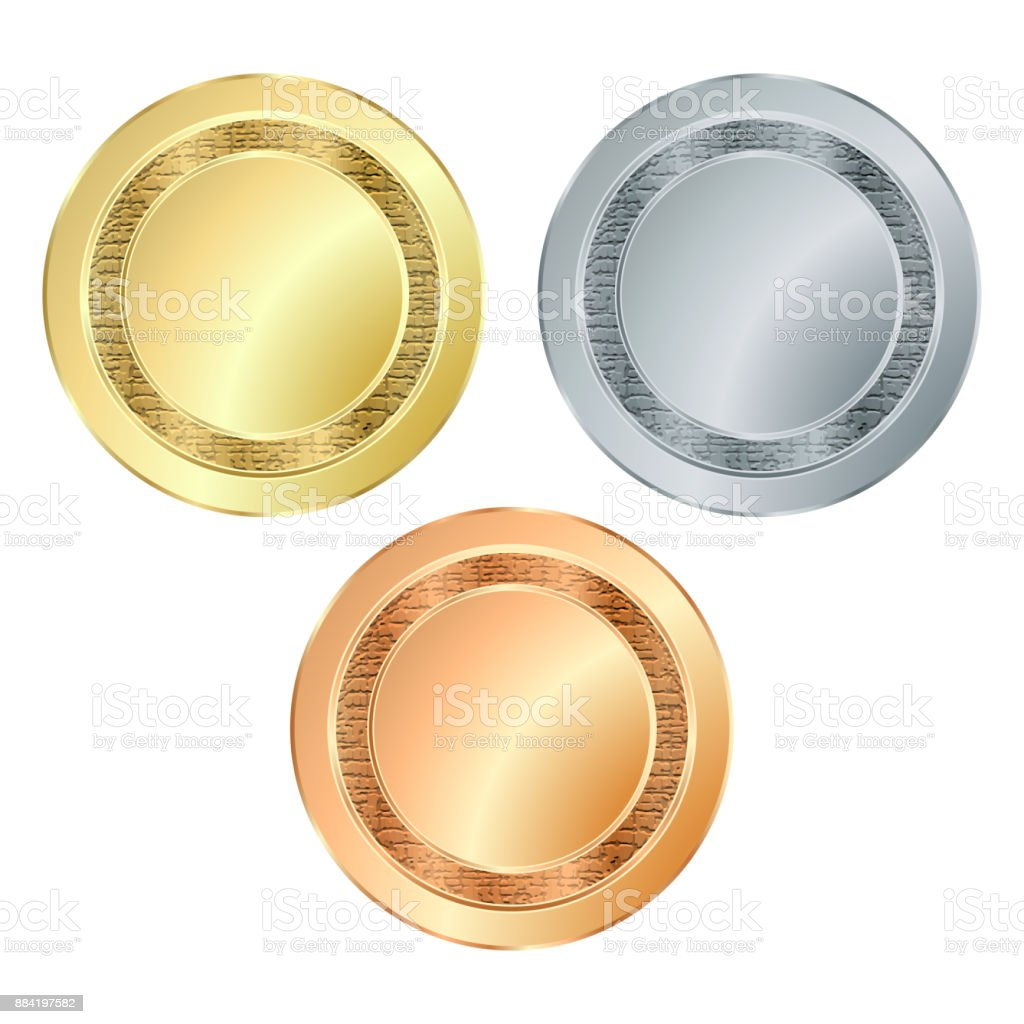 The empty vector stamp with the texture of gold silver bronze, which can be used as icons, buttons, coins, medals vector art illustration