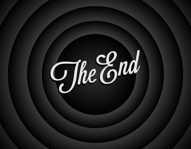 The end black and white screen background. Movie ending screen background. The end of movie or film or video. Vintage styled vector illustration. The end black and white screen background. Movie ending screen background. The end of movie or film or video. Vintage styled vector eps 10 illustration. finishing stock illustrations