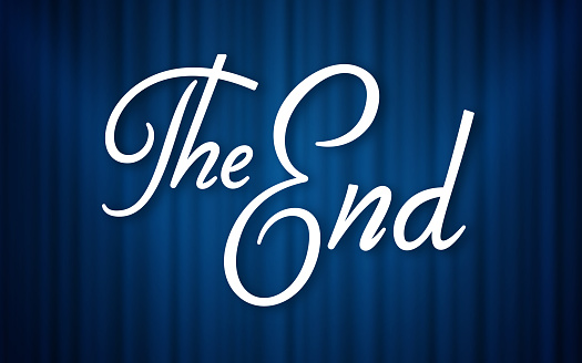The End Blue Curtain Retro Background