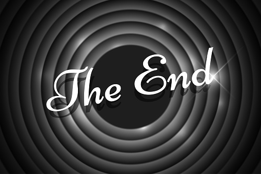 The End handwrite title on black and white round background. Old cinema movie circle ending screen. Vector noir poster template illustration