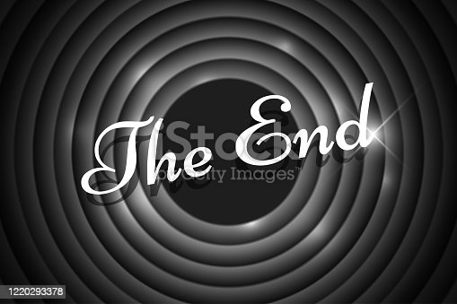 istock The End handwrite title on black and white round background. Old cinema movie circle ending screen. Vector noir poster template illustration 1220293378