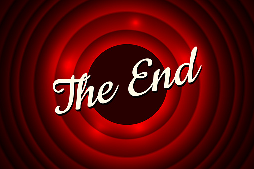 The End handwrite title on red round bacground. Old cinema movie ending screen. Vector illustration EPS10