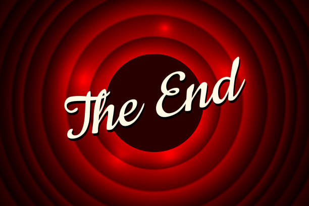 The End handwrite title on red round bacground. Old movie ending screen. Vector illustration The End handwrite title on red round bacground. Old cinema movie ending screen. Vector illustration EPS10 finishing stock illustrations
