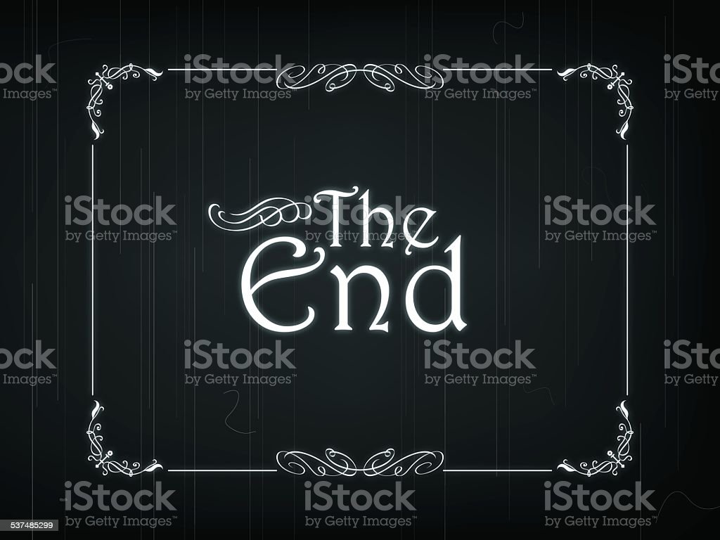 """The End Of An Old Movie Eps 10 Vector illustration of """"The End"""" frame of an Old Movie 2015 stock vector"""