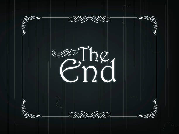 """The End Of An Old Movie Eps 10 Vector illustration of """"The End"""" frame of an Old Movie finishing stock illustrations"""