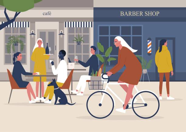 ilustrações, clipart, desenhos animados e ícones de o fim da pandemia, restaurantes e barbearias reabrindo, voltando ao normal, pessoas andando, pedalando e sentadas no café, estilo de vida milenar - exterior
