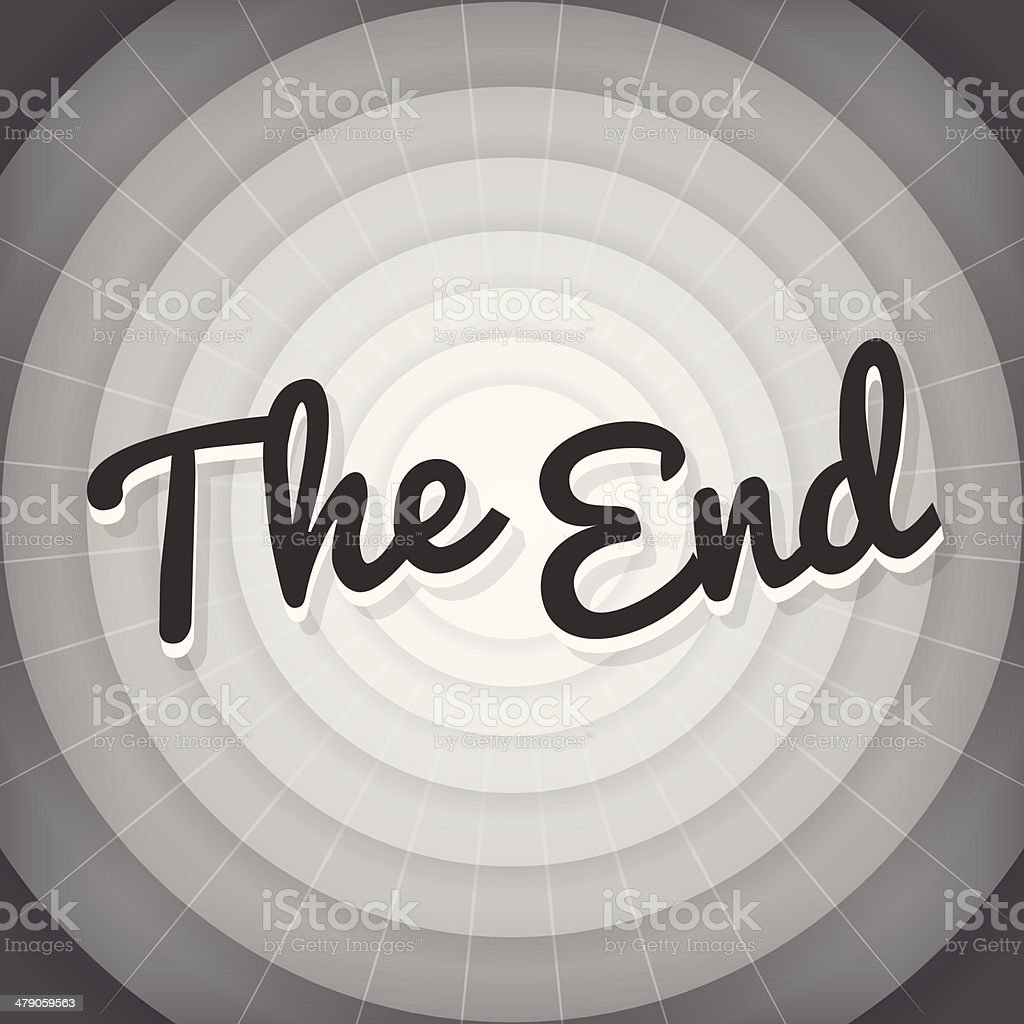 The end typography BW old movie screen vector art illustration