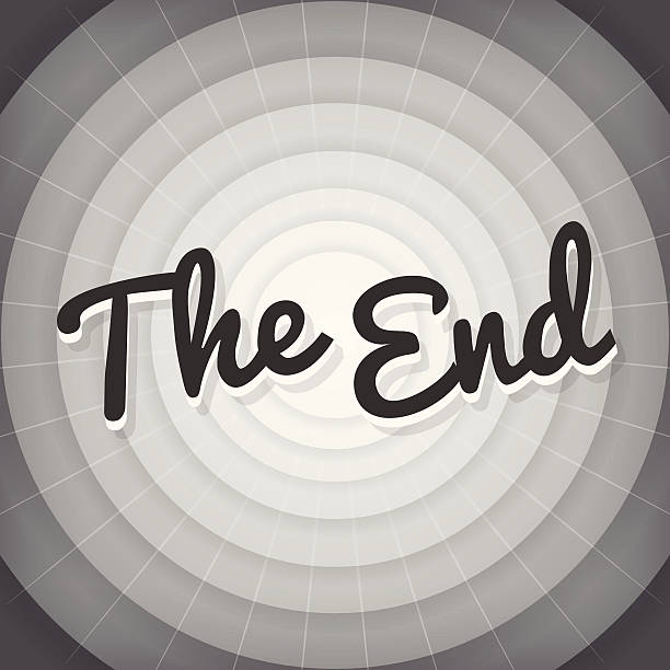 the end typography bw old movie screen - 1940s style stock illustrations
