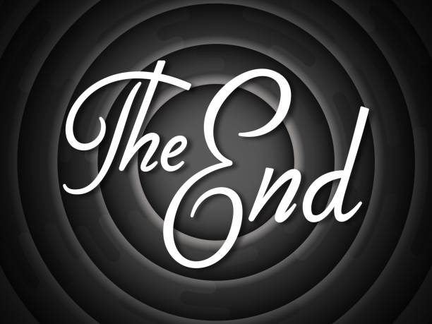 The End The end screen credits circle concept. finishing stock illustrations