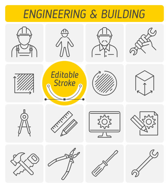 ilustraciones, imágenes clip art, dibujos animados e iconos de stock de la ingeniería y construcción de conjunto de iconos de vector de contorno. - obrero de la construcción