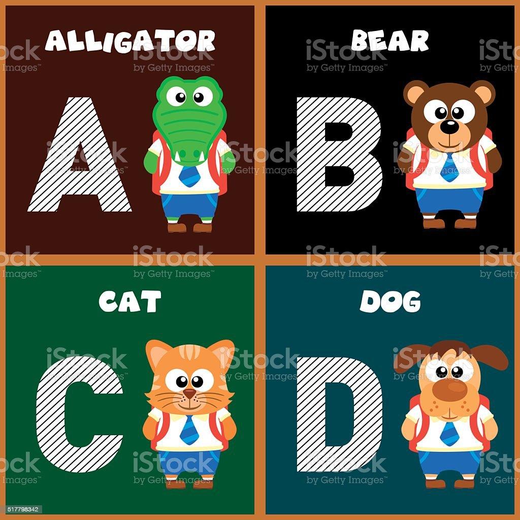 The English alphabet letter A ,B,C,D vector art illustration
