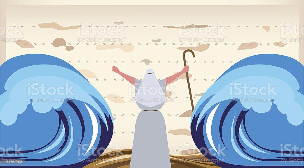 O Escape do Egito.  Páscoa judaica convite - ilustração de arte em vetor