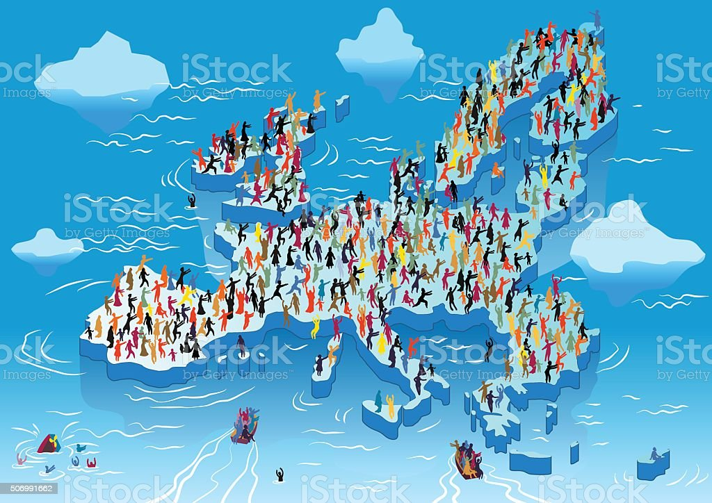 The European Union ice field with refugees in cold water. vector art illustration