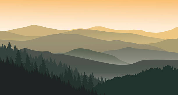 The evening at foggy mountains Vector illustration. EPS 10.  mountains in mist stock illustrations