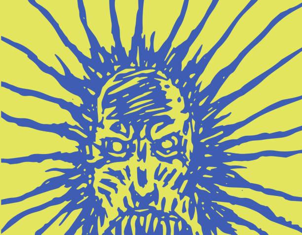 悪夢からモンスターの邪悪な顔。ベクトル図 - ウクライナ点のイラスト素材/クリップアート素材/マンガ素材/アイコン素材