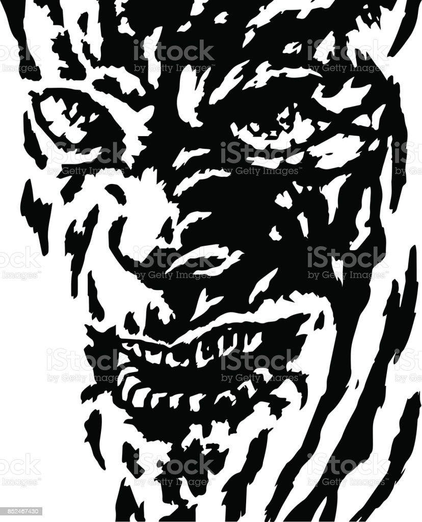 The evil face of the killer maniac watching his victim. Vector illustration. vector art illustration