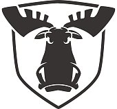 The evil moose head logo vector emblem