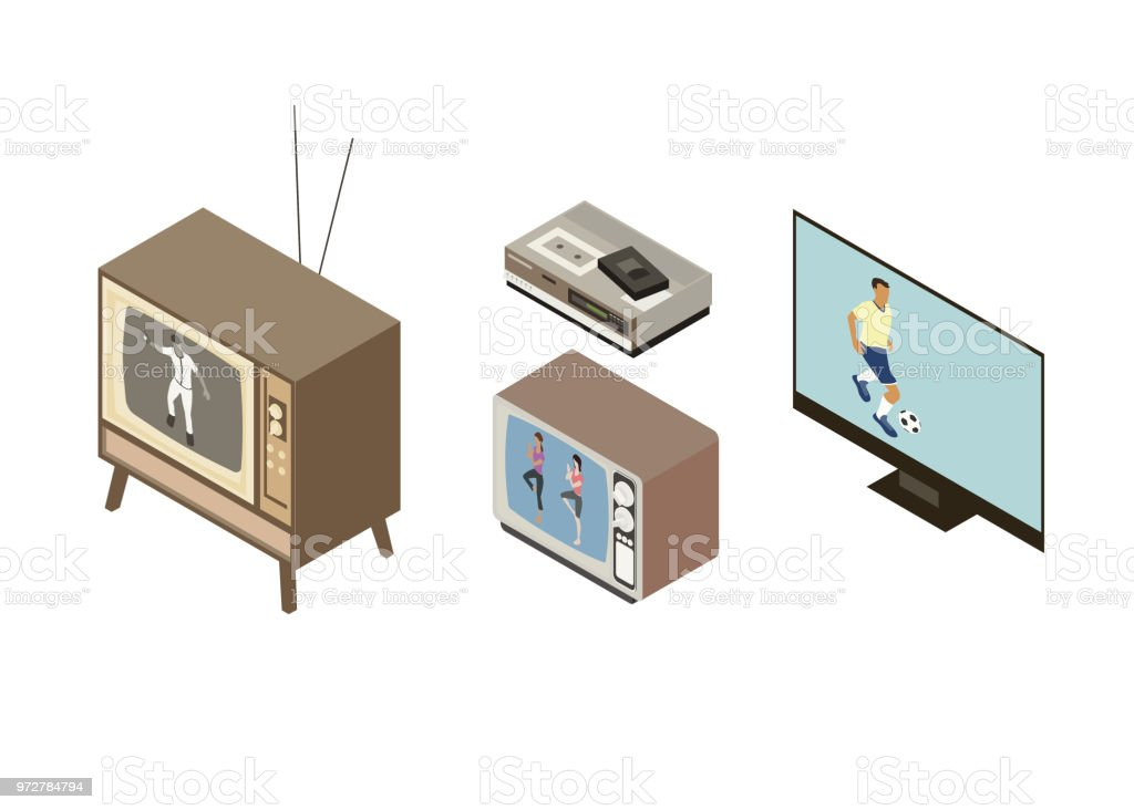 The evolution of the television vector art illustration