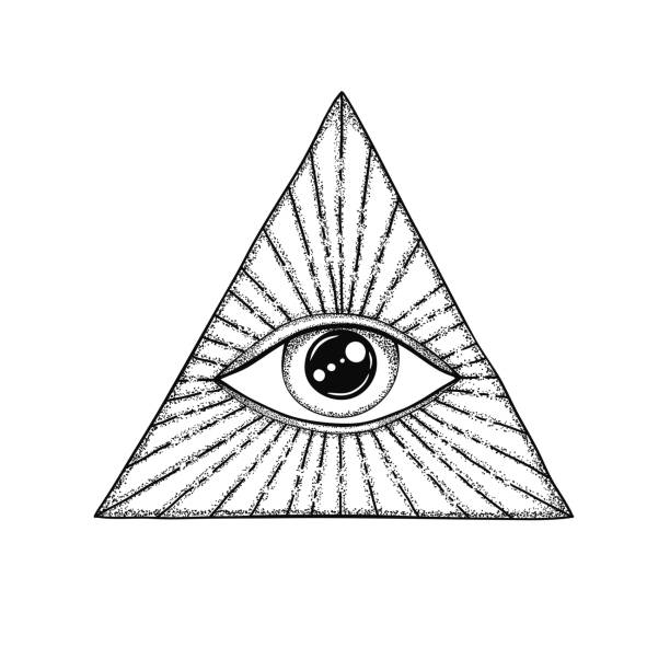 the eye of providence. masonic symbol. all seeing eye in triangle with divergent rays. black tattoo. - третье око stock illustrations