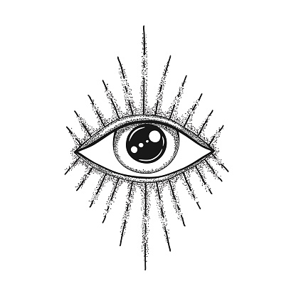 The Eye of Providence. Masonic symbol. All seeing eye in with divergent rays. Black tattoo.